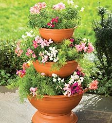 Flowerpots – Great Idea!  Place a sponge at the bottom of your flower pot before filling with soil.  Will act as a water reservoir.