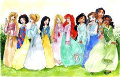 Disney princesses in traditional Korean hanboks. So pretty!