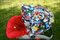 If i ever have another baby and its a boy, i HAVE to have this for him!  Infant Car Seat Cover Super Hero's with red Minky by ChubbyBaby, $75.00