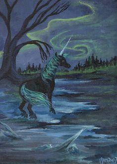 Aurora black unicorn fantasy painting original acrylic