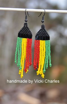 You'll need these earrings for your next reggae music festival. Rasta Reggae Seed Bead Earrings. Handmade black, green, yellow and red. Buy on Etsy http://www.etsy.com/shop/vickidesignsca