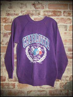 Vintage 80's NBA Charlotte Hornets Signature Crewneck Sweatshirt by RackRaidersVintage, $18.00