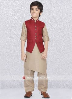 d72677778 Linen cotton fabric Goldenrod color Kurta and Red color koti is designed  with fancy buttons.
