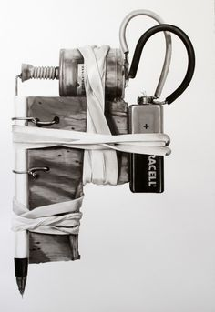 Scott Campbell created these remarkable watercolor paintings of DIY tattoo machines during a six week visit to a maximum security prison in Mexico City. Coil Tattoo Machine, Rotary Tattoo Machine, J Scott Campbell, Diy Tattoo, Tattoo Shop, Tattoo Pics, Custom Tattoo, Modern Tattoos, Cool Tattoos