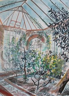 'The Camellia House, Yorkshire Sculpture Park' by Emily Sutton (watercolour and ink) Fields In Arts, Yorkshire Sculpture Park, Museum Of Childhood, A Level Art, Art Party, Watercolor And Ink, Garden Art, Les Oeuvres, Fantasy Art