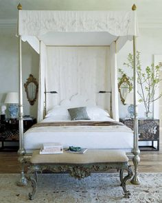 Silver Four-Poster Bed