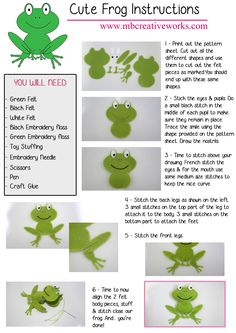 Felt Frog Instructions. Free pattern available on site.