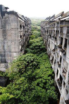 Des immeubles abandonnés, Keelung, Taiwan