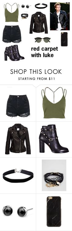 """red carpet with luke"" by love5sosforever ❤ liked on Polyvore featuring Topshop, River Island, Anine Bing, Valentino, Miss Selfridge, ASOS and Ray-Ban"