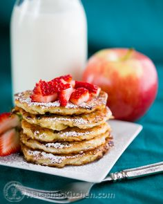 Apple and Cottage Cheese Pancakes. Sounds so delicious I want to have it right now.