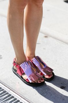 Metallic pink tassel shoes spotted at #NYFW #SS15 #streetstyle
