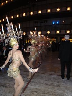 Lighted crystal Chandeliers on the top of our dancers heads!