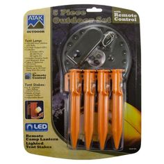 Atak Lighted Tent Stakes Set Wireless 80 Lumen LED Lamp With Remote Camping 382 - Walmart.com