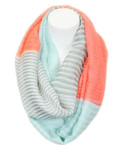 Marilyn & Main Women's Lightweight Striped Solid Infinity Soft Scarf (One Size, Pink/Khaki) at Amazon Women's Clothing store: