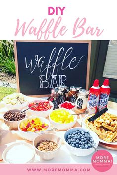 Looking for waffle bar ideas for your next brunch? I've sharing the best waffle bar toppings and set-up! A homemade sign, pre-measured batter, and lots of delicious toppings are just a few of my favorite ideas! Brunch Buffet, Brunch Bar Ideas, Waffle Bar, Birthday Brunch, 21st Birthday, Before Wedding, Christmas Brunch, Brunch Wedding, Perfect Breakfast