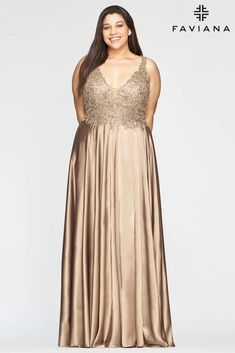 Faviana 9494 Long Sleeveless Plus Size Prom Dress | The Dress Outlet Plus Formal Dresses, Plus Size Prom Dresses, Long Dresses, Long A Line Skirt, Faviana Dresses, Designer Prom Dresses, A Line Gown, Lace Dress, Gowns