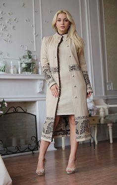 Iranian Women Fashion, African Fashion, Elegant Outfit, Classy Dress, Abaya Fashion, Fashion Dresses, Mantel Beige, Couture Dresses, Look Fashion