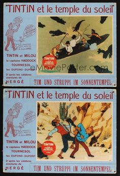 eMoviePoster.com Image For: 5s356 TINTIN & THE TEMPLE OF THE SUN 4 Swiss LCs '69 great cartoon images, from the comic by Herge!