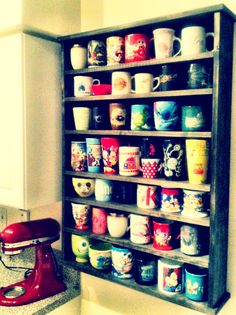 new mug rack. equipped with disney mugs. new mug rack. equipped with disney mugs. Coffee Mug Display, Coffee Cups, Coffee Cup Holder, Cup Holders, Disney Mugs, Mug Rack, Disney Kitchen, Disney Home Decor, Ideias Diy
