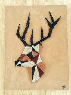 Deer: 270 meters of thread sewing used (black, white, dark blue, mustard and grey color) and 448 nailed to wood painted tips. Size: 60cm by 80cm thickness 1 cm Price: 145 euros