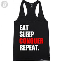 FTD Apparel Women's Eat Sleep Conquer Repeat Racerback Tank Top - Large Black (*Amazon Partner-Link)
