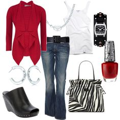 Red, black and white weekend outfit