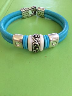 Silver Crystal and Turquoise Leather Bracelet by joytoyou41