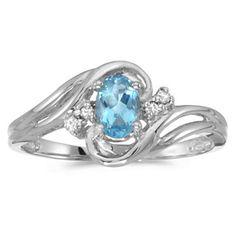 14k White gold December Birthstone Oval Blue Topaz And Diamond Ring blue topaz diamond rings