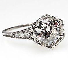 ~Vintage 1930's Antique Diamond Ring w/ Accents Solid Platinum~