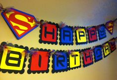 Superman Happy Birthday Banner by PaperPiecingDreams on Etsy, $25.00