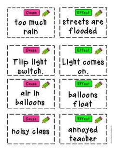 Cause and Effect FREE Matching Cards by Book Buddies Cause And Effect Games, Cause And Effect Worksheets, Cause And Effect Activities, Book Activities, Teaching Resources, First Grade Games, Partner Cards, I Love School, Kids English