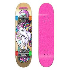 SkateXS Beginner Unicorn Girls Skateboard  Pink Grip -- Click image to review more details.
