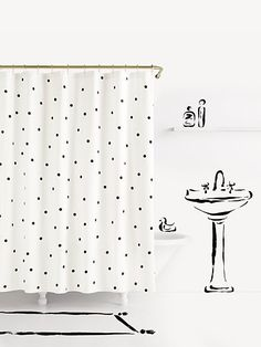Shower Curtain - Pineapple and Stripes - Gold Black and White - 71 ...