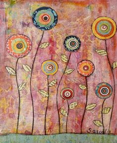 My new Mixed Media Abstract  Flower Collage Painting . To find out more about me and my art please look at my profile.