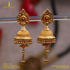 Gold Jewelry For Wedding Gold Jhumka Earrings, Gold Mangalsutra, Gold Bridal Earrings, Gold Earrings Designs, Gold Drop Earrings, 1 Gram Gold Jewellery, 18k Gold Jewelry, Gold Jewellery Design, Gold Bangles