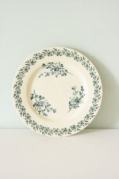 French Vintage Plate with Flower Sprig Pattern by Chezpetitpica u20ac10.00 & French Vintage Ceramic Plate with Blue Flower by Chezpetitpica ...