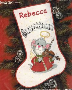 SUZYS ZOO Christmas Counted Cross Stitch Kit MUSICAL MOUSE STOCKING Violin 1989 #Janlynn #StockingKit