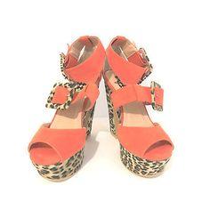 d0359e30408c Designs by Jacobies Womens Shoes Leopard Orange Platform Wedge
