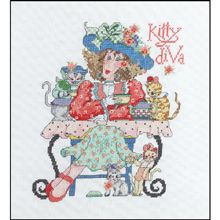 CXST Kitty Diva Counted Cross Stitch Kits, Sewing Stores, Crochet Tools, Knit Crochet, Craft Stores, Cross Stitching, Yarn Shop, Counting, Stitch 2