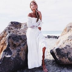 Cheap dress classic, Buy Quality dress up black dress directly from China dress products Suppliers: Women Sexy Lace Patchwork Maxi Long Dress 2017 Slash Neck Off Shoulder Flare Sleeve Beach Party White Dresses Robe Vestidos Sexy Maxi Dress, Lace Maxi, Maxi Dress With Sleeves, Lace Sleeves, Boho Dress, Sexy Dresses, Lace Dress, Dress Long, Strapless Dress