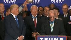 """Donald J. Trump makes a statement at his new hotel in Washington, D.C.  Trump: """"We have 17 Medal of Honor recipients and they've all endorsed me for president."""""""