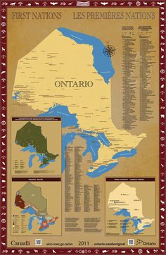 """Ontario First Nations map (Government of Ontario site): """"How to locate First Nation reserves, Tribal Councils, political organizations and land covered by treaties,"""" presently. Map can be ordered. Native Canadian, Canadian History, Native American Quotes, Native American History, American Symbols, American Indians, Indigenous People Of Canada, Indigenous Education, Socialism"""