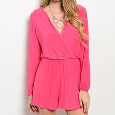 Pink romper the brand is Honey Punch which is sold at stores such as Nordstrom, Nasty Gal, ASOS, Urban Outfitters, etc.  92% polyester, 8% spandex  Available in Small, Medium, & Large MODEL IS WEARING THE EXACT PRODUCT   10% off all bundles of 3+ items   •Comment below what size you'd like & I'll make a separate listing for you to purchase• Pants Jumpsuits & Rompers