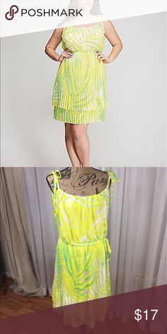 Lane Bryant dress NWT Halter dress with bow tie straps. Belted waist. Layered pleated skirt. Bright summertime fun in a dress Lane Bryant Dresses