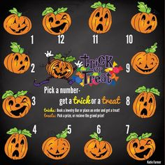 Halloween Game; Trick OR Treat (answers saved seperately). Each number has a pre-chosen Trick or Treat designation as well as whether they get a grand prize, pick a prize (which will be to choose a charm I have in stock, grand prize is a chain), and on the Trick cards they can choose to book a party or if they don't want to do that they can choose to place an order.  SparkleWithJennifer.OrigamiOwl.com