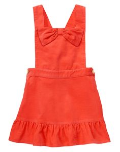 Toddler Girls Fox Orange Corduroy Jumper by Gymboree. cotton corduroy, Features bow detail at chest, Criss-cross straps in back, Pieced ruffle hem, Includes diaper cover up to Machine wash; imported and Collection Name: Fairy Tale Forest. Toddler Dress Up, Toddler Outfits, Toddler Girl, Kids Outfits, Cute Outfits, Little Girl Fashion, Kids Fashion, Jumper Outfit, Orange Dress