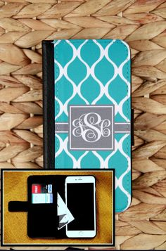 Wallet Case iPhone 4 5 5s 5C 6 6+ 6 Plus Samsung Galaxy 3 4 and 5 S3 S4 S5 Case Cell Phone Accessories Monogrammed Gift Custom Personalized by ChicMonogram on Etsy