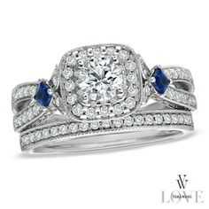 Vera Wang LOVE Collection 1-1/4 CT. T.W. Diamond and Sapphire Frame Bridal Set in 14K White Gold in {productContextTitle} from {brandTitle} on shop.CatalogSpree.com, your personal digital mall.