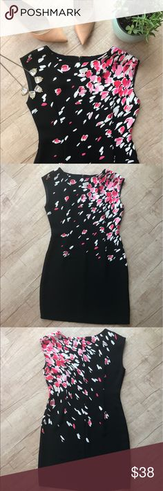 """LOFT Falling Petals Black Cap Sleeve Dress * super cute black cap sleeve dress * """"falling petals"""" pattern * shades of pink & white * back zip closure * BUST (laid flat, on one side) - 15"""" * WAIST (laid flat, on one side) - 18"""" * LENGTH - 33"""" * 100% Polyester * please note - this dress is a little thin, i'd advise wearing a slip underneath.  * great used condition    * all measurements are approximate LOFT Dresses"""