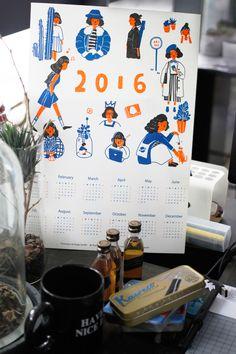 AKI 2016 CALENDAR on Behance Desk Calender, 2016 Calendar, Print Calendar, Calendar Design, Japanese Poster Design, Screen Printing, Graphic Design, Prints, Cards